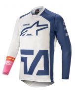 Alpinestars Motocross-Shirt RACER COMPASS Weiss/Dunkel Blau/Rosa