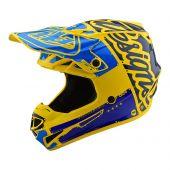 Troy Lee Designs SE4 Polyacrylite Motocross Helm Factory Gelb Blau