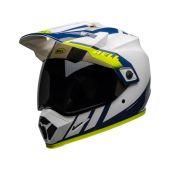 BELL MX-9 Adventure Mips Motocross-Helm Dash Gloss Weiss/Blau/Fluo Gelb