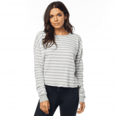 Fox Women Striped Out LS Thermal Crop White