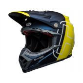 BELL Moto-9 Flex Motocross-Helm Husqvarna Gotland Matt/Gloss Blau/Fluo Gelb