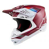 Alpinestars Motocross Helm Supertech SM8 Contact Dark Rot Weiß