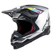 Alpinestars Motocross Helm Supertech SM8 Contact Silber Schwarz