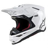 Alpinestars Motocross Helm Supertech SM8 Solid Glossy Weiß