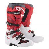Alpinestars Motocross Stiefel Tech 7 Weiß Rot Burgundy