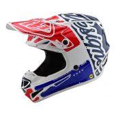Troy Lee Designs SE4 Polyacrylite Motocross Helm Factory Blau Weiß